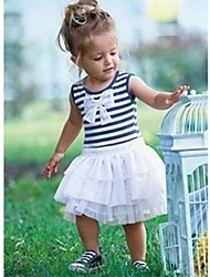 Girl's  Blue White Striped Pleated Princess Dress