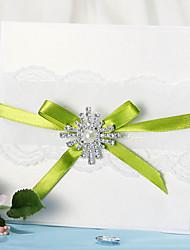 Wrap & Pocket Wedding Invitation With Lace and Rhinestone - Set of 12