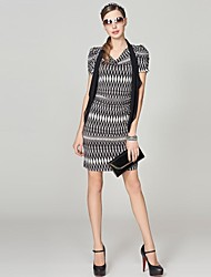 магия ощущение OSA летом новых женщин шифон печатных короткими рукавами плюс размер платья нижнего мини-Сельма плюс размер платья