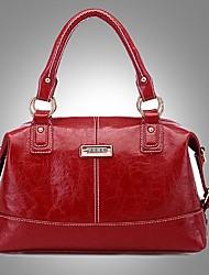 Erlen Women's Fashion European Style Simple Business Tote/One Shoulder/Crossbody Bag(Wine)