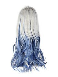 High Quality Cosplay Synthetic Wig Harajuku Style Lolita Full Bang Mixed Color Wavy Long Wig