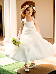 A-line Princess Knee-length Flower Girl Dress - Organza Spaghetti Straps with Appliques Beading Draping Ruching