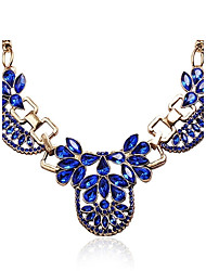 Royal Blue Kristall Opulente Halskette Strass-Schmuck