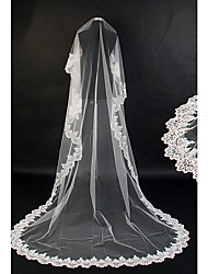 One Tier Cathedral Wedding Veil With Applique Edge(More Colors)