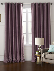 Modern Two Panels Floral  Botanical Purple Living Room Polyester Blackout Curtains Drapes