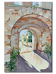 Hand Painted Oil Painting Landscape People in The Castle Painting with Stretched Frame