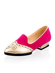 Zapatos de mujer - Tacón Bajo - Comfort / Punta Cubierta - Mocasines - Oficina y Trabajo / Vestido - Ante - Negro / Rosa