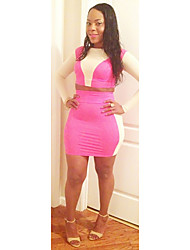 Topro Women Two Pieces Sexy Bandage Dress Long Sleeve Patchwork Mini Bodycon Party Dress TY067(pink)