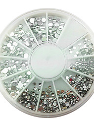 Mixs Size Acrylic Silver White Diamond Nail Art Decorations