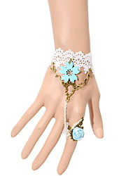 Omuto New Blue Flower-Diamant-Ring-Armband (weiß)