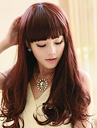 High Quality Synthetic Capless Long Curly Chestnut Brown Full Bang Wigs