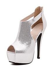 """""""Sandálias Stiletto Peep Toe espumantes Glitter Mulheres econômicos com Zipper Shoes (mais cores)"""