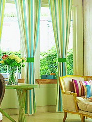 Two Panels Curtain Country , Stripe Bedroom Poly / Cotton Blend Material Curtains Drapes Home Decoration For Window