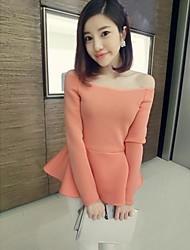 Frauen Sexy Bateau Schwingen Solid Color Bluse