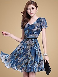Sexylady Women's Casual Short Sleeve Flower Pattern Chiffon Dress