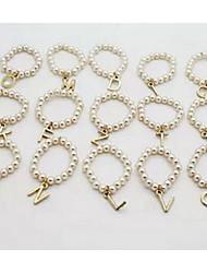 Shixin® European English Alphabet Women'S Ivory Pearl Band Rings(1 Pc)