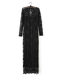 Z & G Vrouwen V-hals Nylon Lace Sexy Bodycon Black Dress