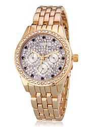Diamant élégant de femmes cadran or Steel Band bracelet à quartz (couleurs assorties)