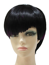 Capless Short Black Purple Mixed Color Straight Synthetic Hair Full Wig For Women