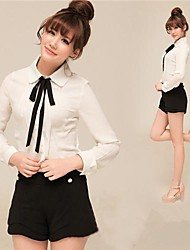 Han Edition Of The New Shirt Take A Bow in Long Sleeve Professional Shirt Long Chiffon Shirt