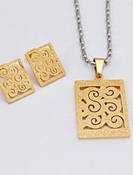 Mode oblongues titane creux en acier Out Colliers Boucles d'oreilles Ensembles de bijoux vintage