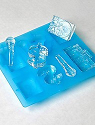 8 Holes Snow Hip Pop Musical Instruments Shape Icy Cube Tray, Silicone Rubber Material, Random Color