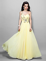 TS Couture Formal Evening / Prom / Military Ball Dress - Daffodil Plus Sizes / Petite Sheath/Column One Shoulder Floor-length Chiffon