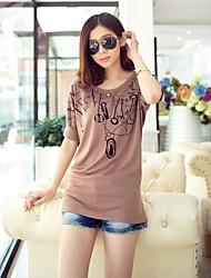 Vrouwen Koreaanse ronde hals met korte mouwen T-shirt