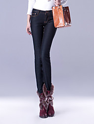 TS Einfachheit Pure Color schmal geschnitten Schwarze Jeans