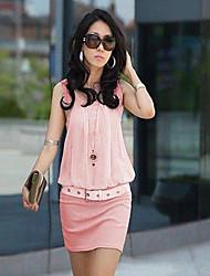 tutto il vestito Sleevless colore solido partita splicing delle donne E.9