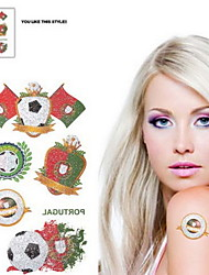 Motif 2PCS Coupe du Monde Football Portugal étanche Body Tattoo temporaire Glitter autocollants