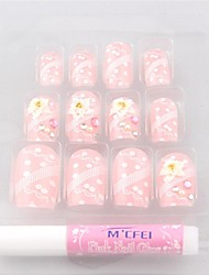 12 PCS Pink Printed Flower Chic Acrylic UV Gel False Nail Art Tips With Glue