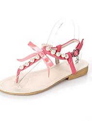 Women's Summer / Fall Flip Flops Leatherette Dress Flat Heel Bowknot / Imitation Pearl Black / Blue / Pink / Red