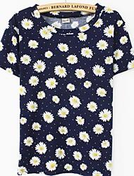 Damen Druck Einfach Lässig/Alltäglich T-shirt Sommer Kurzarm Blau / Grün Baumwolle Dünn