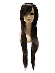 Capless Synthetic Dark Brown Long Straight Synthetic Hair Full Wig