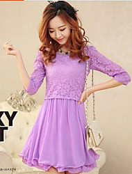 Women's Solid/Lace Beige/Green/Purple Dress , Lace/Party Round Neck Short Sleeve Lace/Pleated