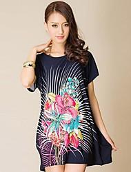Guangzhou Boutique für Damen Extra Large Size Dress Printed Stretch (Schneiderei Random)