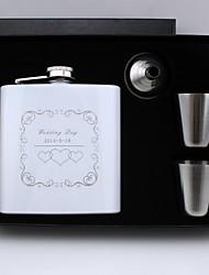 cadeau personnalisé groomsman 4 pièces en acier inoxydable de 6 oz flacon en coffret cadeau