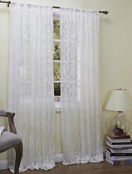 campera de paneles florales botánicos dormitorio blanco cortinas transparentes de poliéster tonos