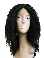 "20"" 100% Indian Remy Kinky Curly Glueless Lace Front Wig"