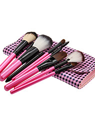 10PCS Wooden Handle Makeup Brush Set with Leatherette Pouch