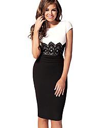 Noir-Blanc col rond motifs grande taille NATURE femmes Robe tube