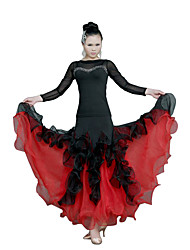 Ballroom Dance Dresses Women's Training Tulle Ruffles Fuchsia / Red Modern Dance / Performance / Ballroom Spring, Fall, Winter, Summer