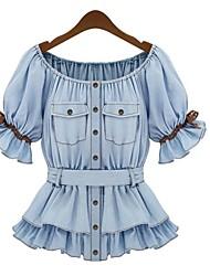 Women's Summer Short Sleeve Denim Blouse Shirt
