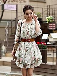 Women's Floral Print Chiffon Flippy Dress with Belt