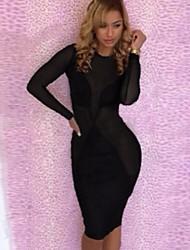 Venta Popular Negro ilusión sensual de la mujer Vestido ajustado