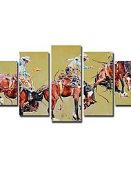 Hand Painted Oil Painting People Knight with Stretched Frame Set of 5