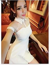 Women's Celebrities Mesh Splicing  A-line Mini Dresses