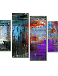 Hand Painted Modern Abstract Oil Painting  with Stretched Frame Set of 4