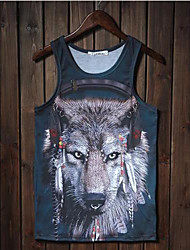 Men's Sleeveless Vest , Cotton/Spandex Casual Print